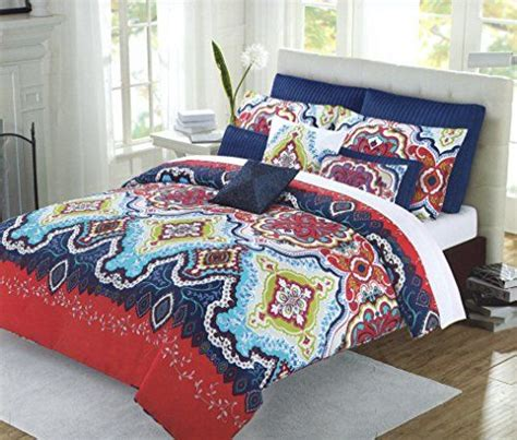 max studio home bedding max studio 3pc king duvet cover set moroccan medallion red