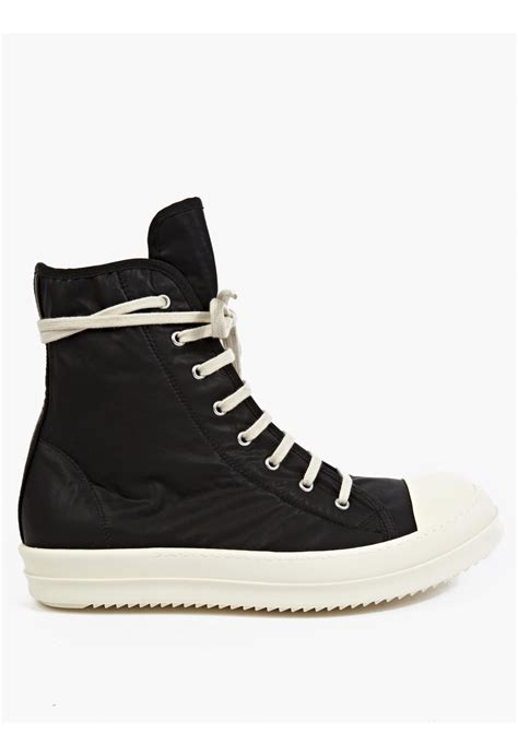 black sneakers drkshdw by rick owens black hi top sneakers in black for