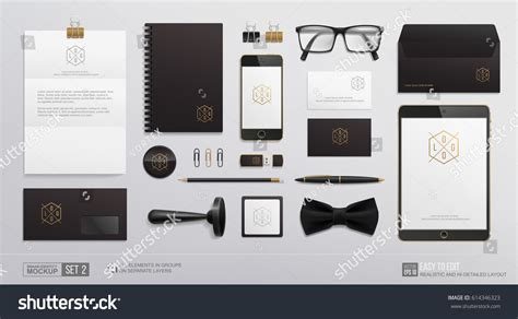 template mockup card set hidetailed corporate brand identity mockup set stock