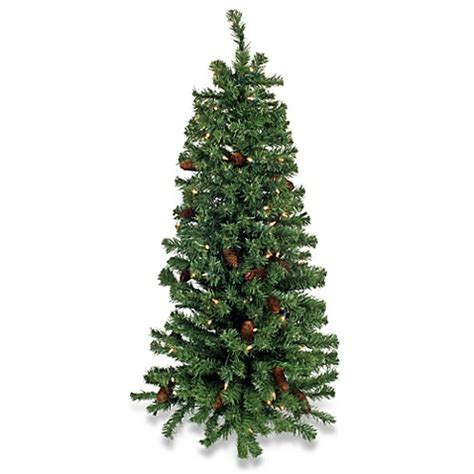 48 inch pre lit wall christmas tree w pinecones bed