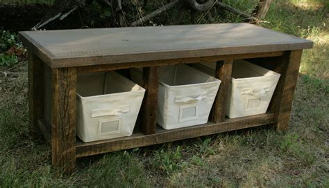 rustic storage benches reclaimed rustic three cubby entry bench by echopeakdesign