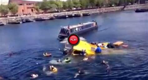 sinking boat docks duck bus sinks on liverpool s albert dock dozens rescued