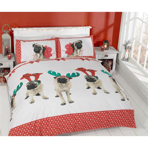 pug bed sheets christmas double duvet set pugs kisses bedding b m