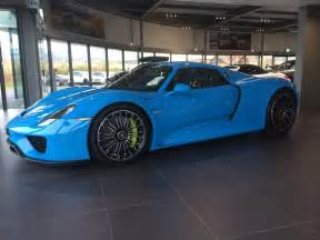 Baby Blue Porsche Looking Baby Blue Porsche 918 Spyder Gtspirit