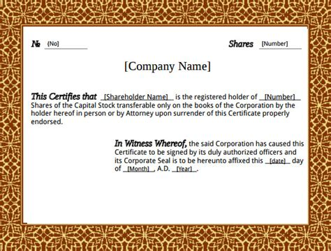 corporate stock certificate template stock certificate template 21 free word pdf