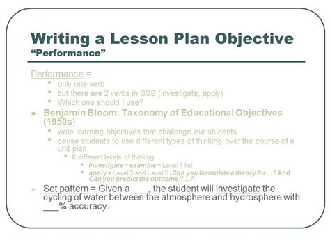 lesson plan objectives writing educational objectives in a lesson plan