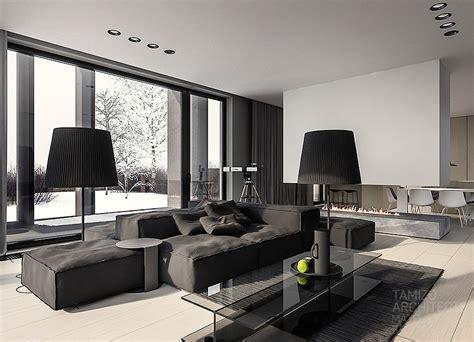single family home interior  cool shades  gray
