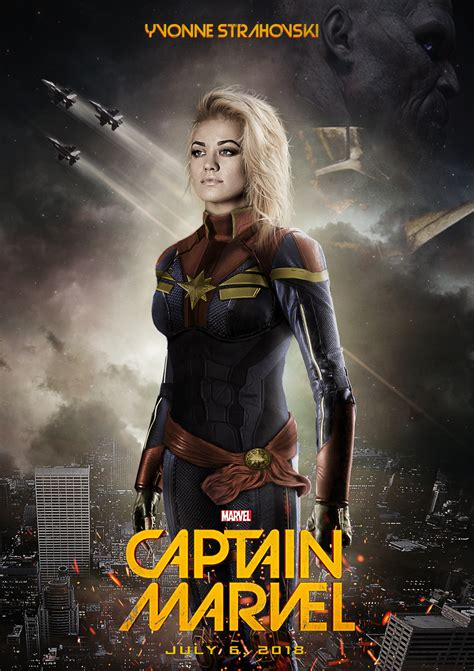 dealpool marvel hero poster film movie star american style fan art shows yvonne strahovski as captain marvel geektyrant