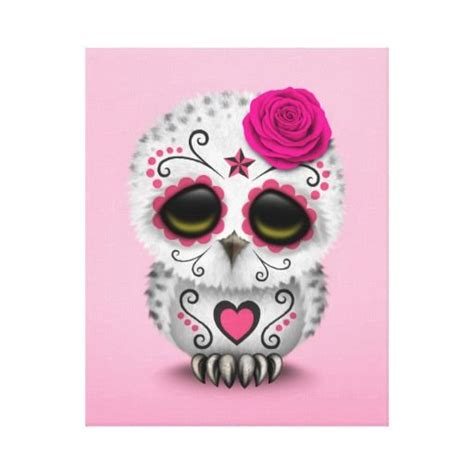 cute sugar skull tattoo designs pink day of the dead sugar skull owl stretched canvas