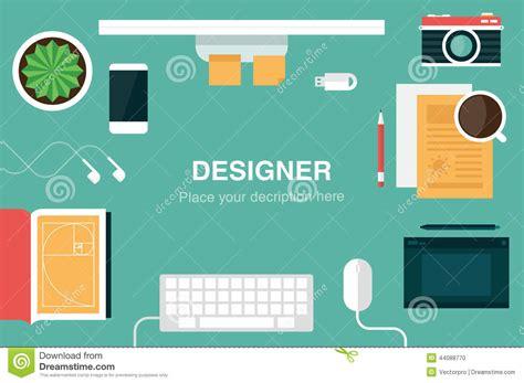 flat design header size designer desk header stock vector image 44088770