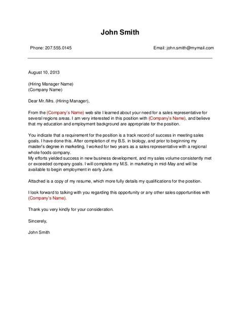 Template #1 business cover letter