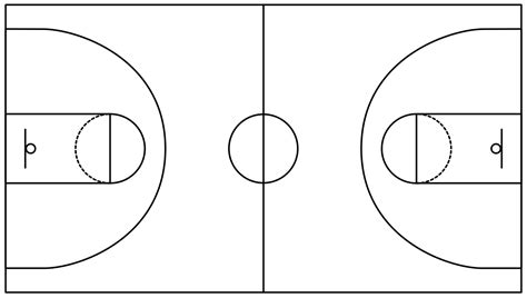 basketball court template basketball field in the vector