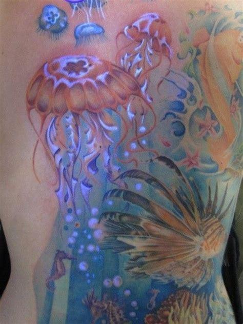 black sea tattoo amazing back black light jellyfish watercolor