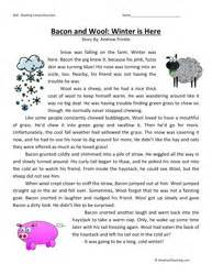 Third grade reading comprehension worksheet bacon and wool winter