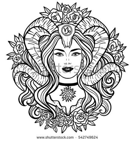 capricorn zodiac hand drawn illustration woman stock vector 542749624 shutterstock