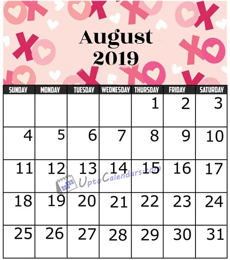august calendar printable template holidays