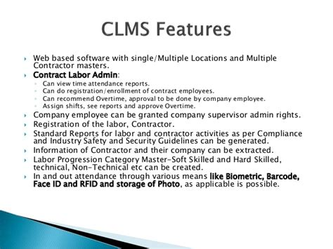 Mba Project On Contract Labour Management by Contract Labour Management Software