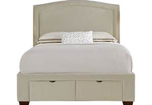 loden beige 3 pc upholstered bed with 2 drawer