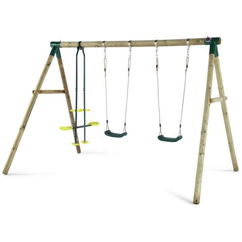 buy wooden swing set buy plum colobus wooden garden swing set at argos co uk