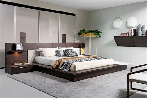 w bed modrest torino contemporary brown oak grey platform bed w lights