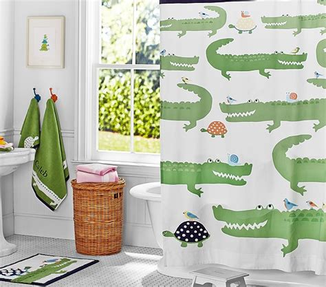 kid bathroom shower curtains alligator shower curtain pottery barn kids
