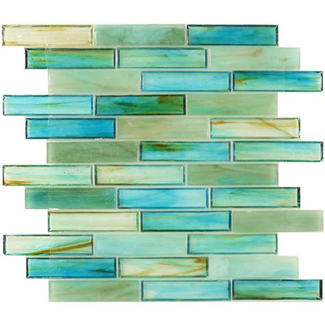 hirsch 1 x 4 green glass brick tile glossy ln0012