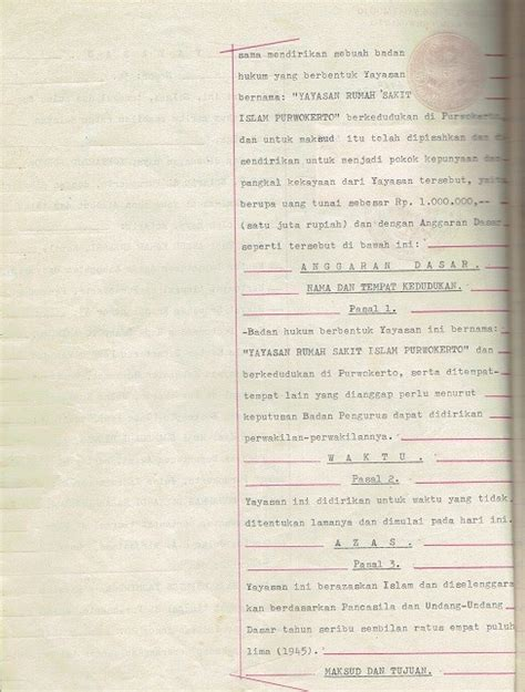 pendirian yayasan pendidikan islam naskah asli legalitas akta pendirian rsi purwokerto oleh