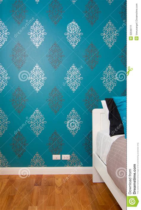 luxury blue bedroom interior bedroom with luxury blue wallpaper stock image image 32046111