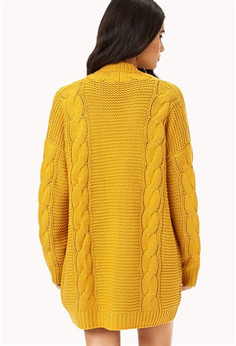 knitting pattern long line cardigan forever 21 longline mixed knit cardigan in yellow lyst