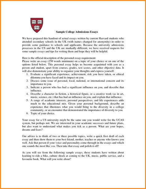 Entrance Essay Exles by 8 How To Write A College Application Letter Model Resumed