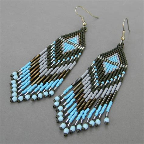 how to bead earrings with seed seed bead earrings green blue grey by