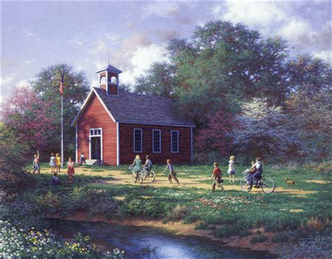 painting of house larry dyke the little red schoolhouse christ centered art