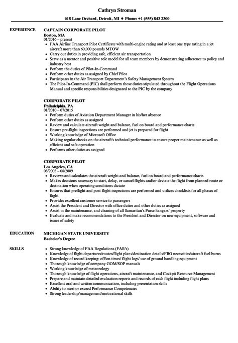 Pilot Resume by Corporate Pilot Resume Sles Velvet