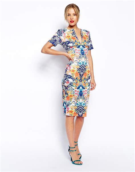 New Jfashion Dress Scuba Printing Hitam Hgb lyst asos pencil dress in scuba with mirror floral print in blue