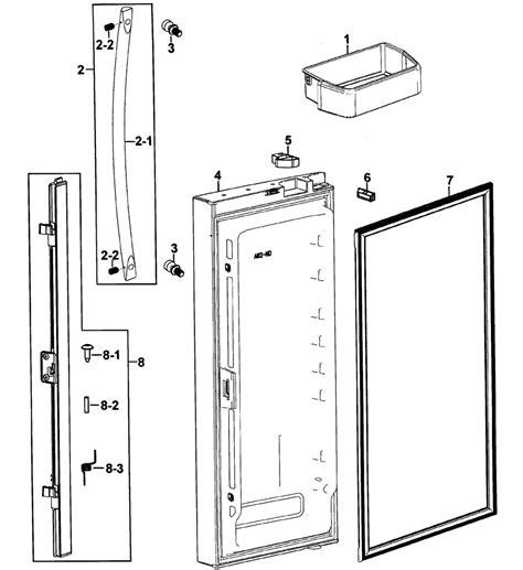 Samsung Door Refrigerator Parts left door diagram parts list for model rfg293habpxaa0000 samsung parts refrigerator parts
