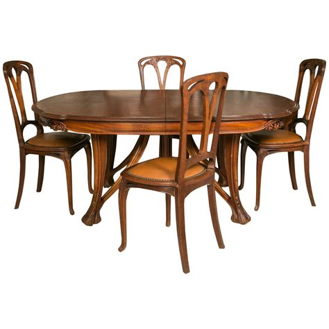 Dining Table With 12 Chairs Nouveau Mahogany Table And 12 Chairs Decorated With Berries By Paul A Dumas For Sale At 1stdibs