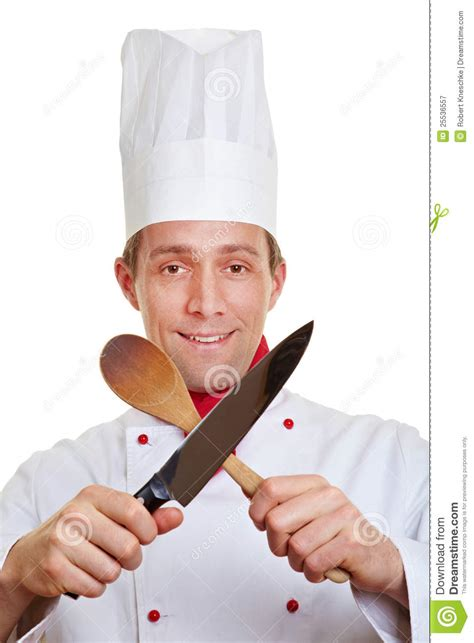 Red Wooden Kitchen - chef cook crossing knife and spoon royalty free stock photography image 25536557