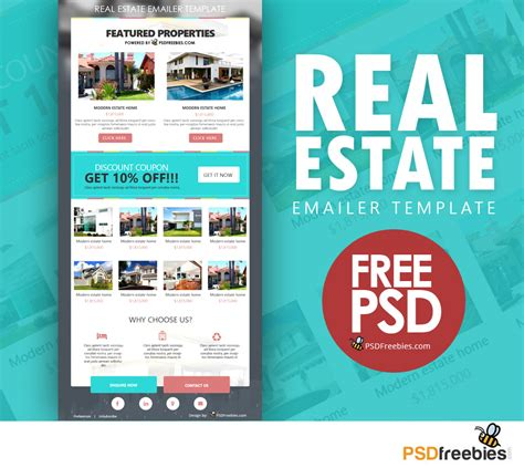 Real Estate E Mailer Template Psd Psdfreebies Com Real Estate Chatbot Template
