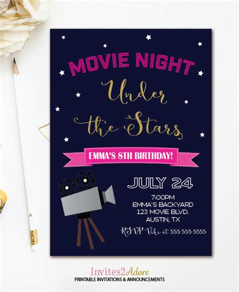 movie night party invitation movie night birthday invitation under the stars outdoor