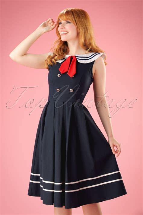 sailor swing dress 50s aquarius sailor swing dress in navy