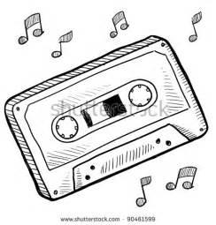 coloring book mixtape mp3 doodle style cassette vector illustration stock