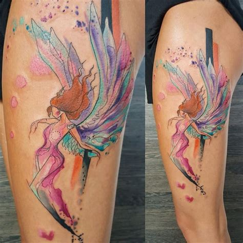 tattoo angel abstract abstract colorful angel tattoo on thigh