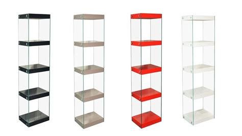 hohe regale glass shelving unit black white grey high gloss shelves