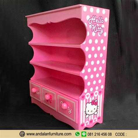 wallpaper hello kitty warna pink aksesoris model lemari buku rak minimalis hello kitty