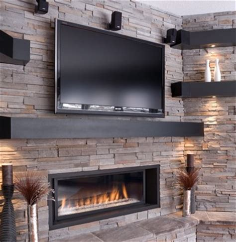 contemporary living room tv above fireplace design