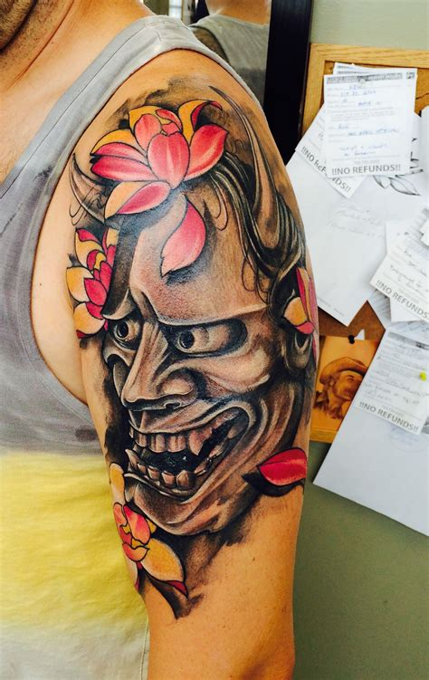 oni tattoo meaning hanya mask with magnolia s artist anthony orsatti