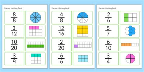 Fraction Matching Printable fractions matching cards fractions matching cards matching