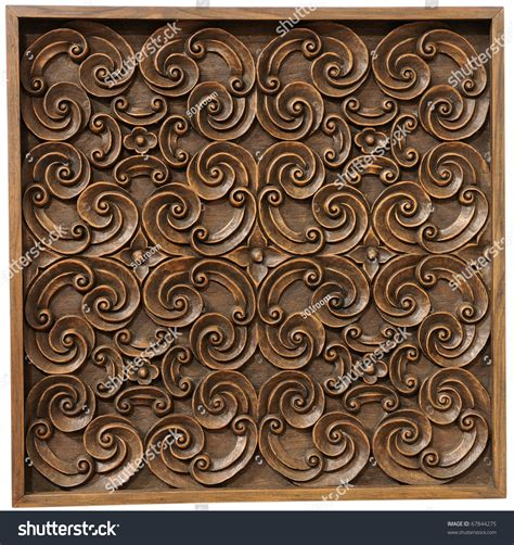 Handmade Wood Carvings - wood thai pattern handmade wood carvings stock photo
