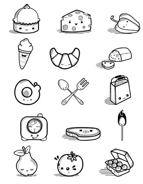 comida kawaii para colorear kawaii food para dibujar