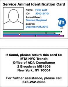 Of the front and back of the service animal identification card